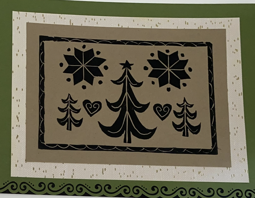 Scandinavian design holiday card with trees, hearts and flowers