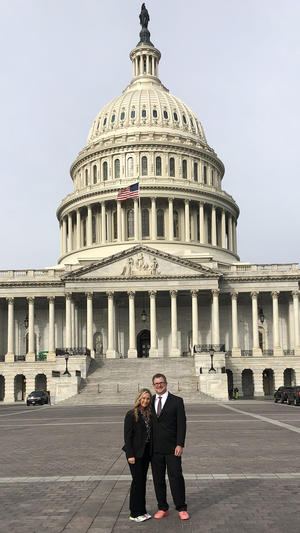 UMD PETE Instructor Lisa Paulson with Clayton Gallus at the Capitol