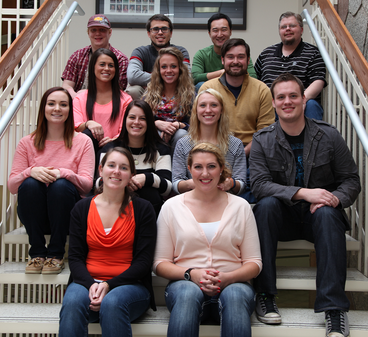 2014 Master of Psychology Students seated on steps