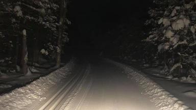 Boulder Lake ski trail at night
