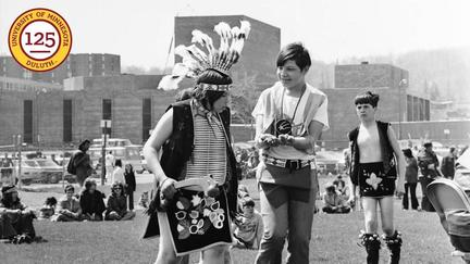 1973 several young American Indian dancers at Anishinaabe week on the UMD campus