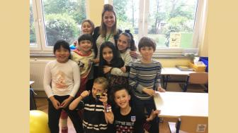Courtney Krefting with her class in Slovenia
