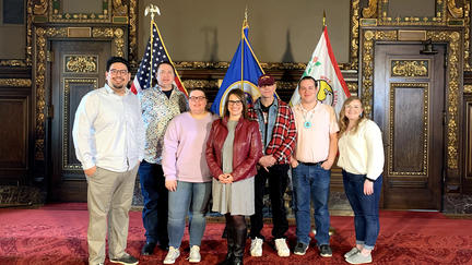 Students at the MN Capitol with Lt. Governor Peggy Flanagan