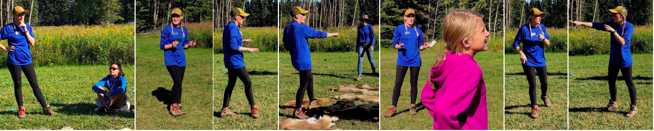 Tricia Bartels directs a wildlife game