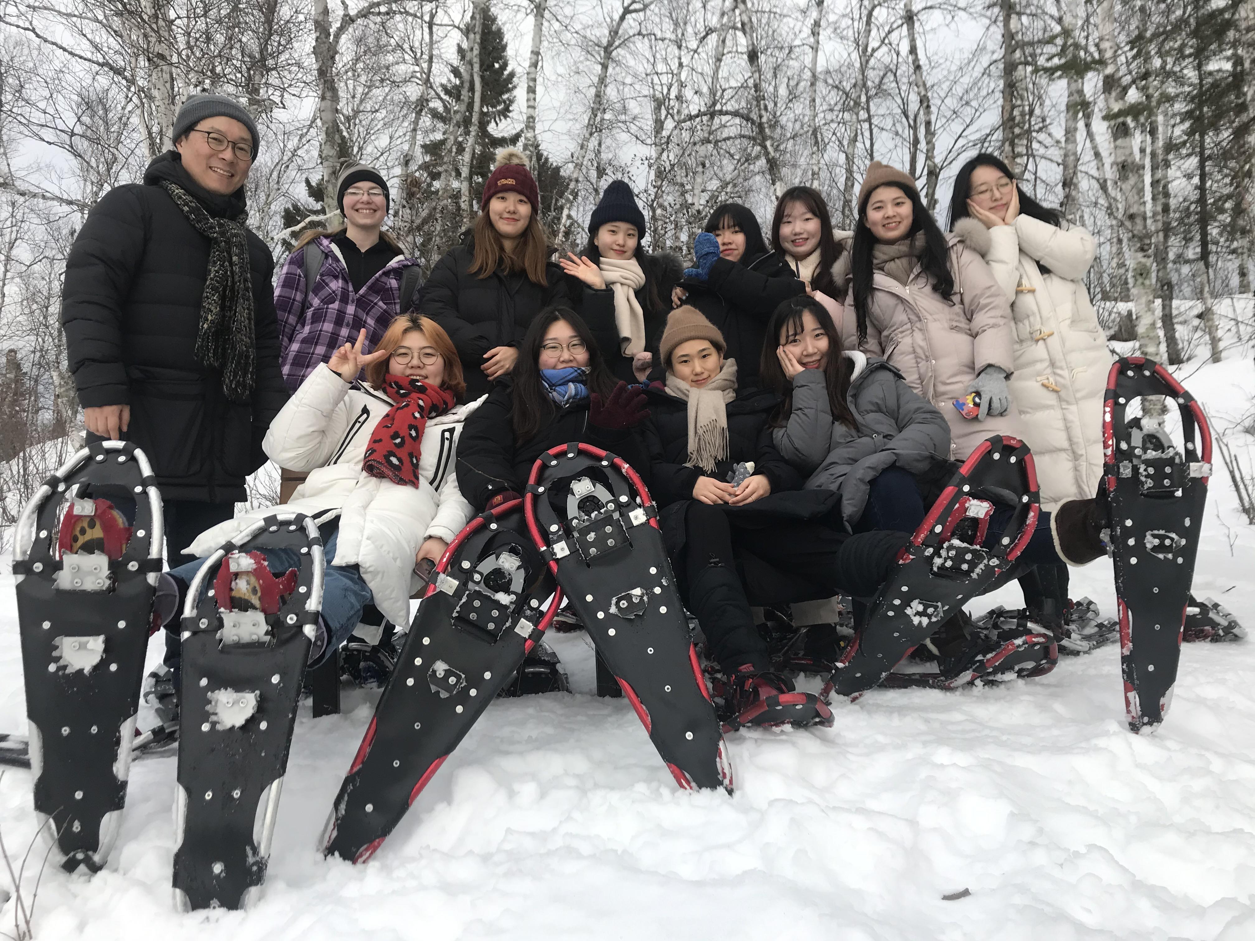 Ewha group on snowshoe hike