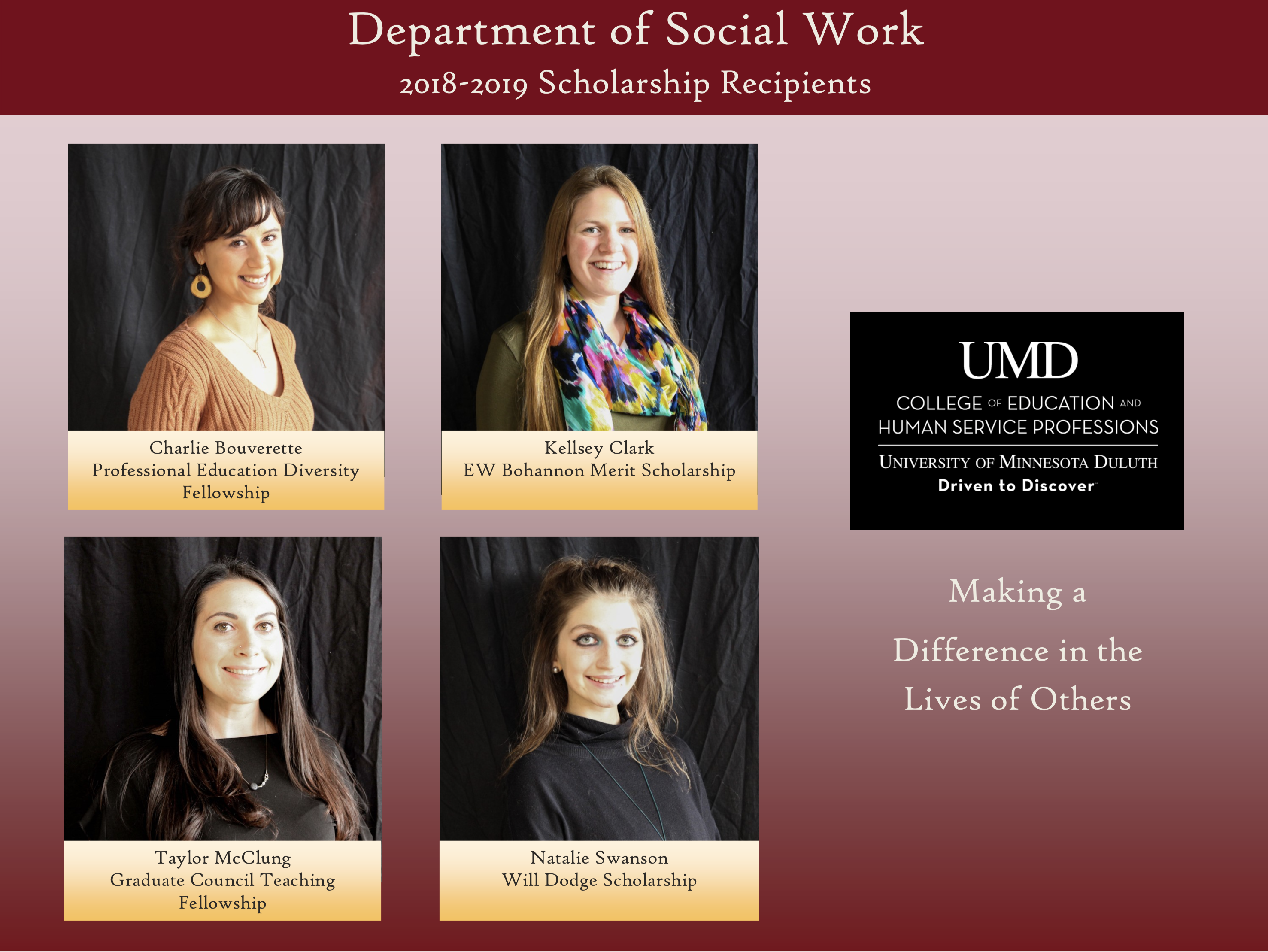 2018-19 UMD Social Work Department Scholarship Recipients