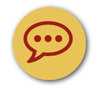 icon of a gold circle with maroon chat bubble